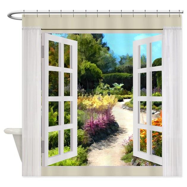 Window View of Garden Path Shower Curtain by DigitalRealityArt