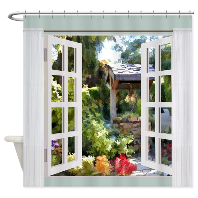 Window View Garden Wishing Well Shower Curtain By