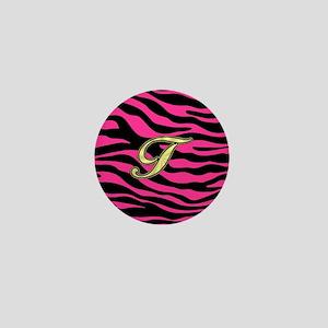 HOT PINK ZEBRA GOLD T Mini Button