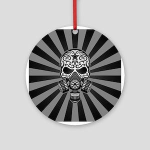 Gray and Black Post Apocalyptic Sugar Skull Orname