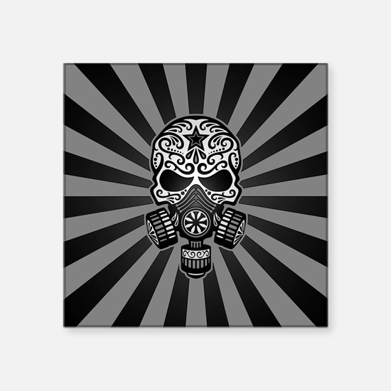 Gray and Black Post Apocalyptic Sugar Skull Sticke