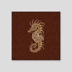 Intricate Brown Tribal Seahorse Sticker