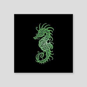 Intricate Green on Black Tribal Seahorse Sticker