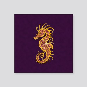 Intricate Golden Purple Tribal Seahorse Sticker