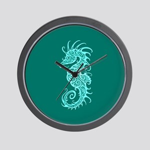 Intricate Teal Blue Tribal Seahorse Wall Clock