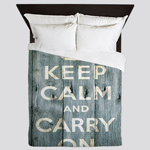 modern keep calm and carry on fashion Queen Duvet