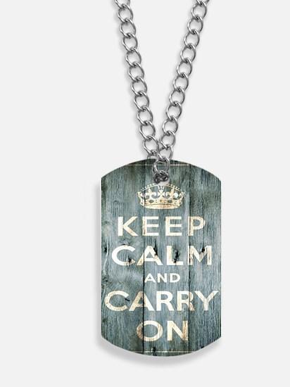 modern keep calm and carry on fashion Dog Tags
