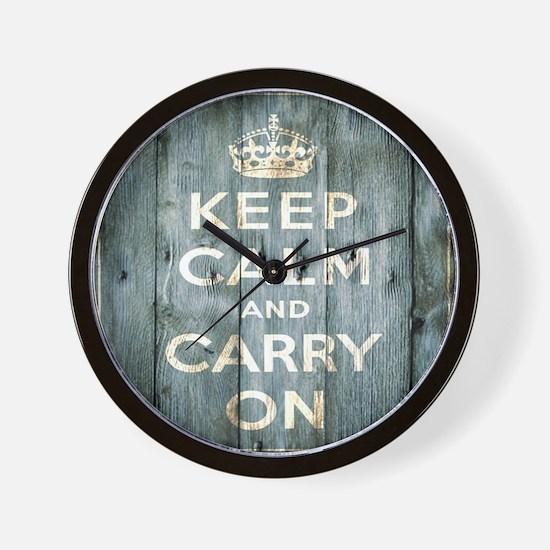 modern keep calm and carry on fashion Wall Clock