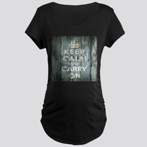 modern keep calm and carry on fashion Maternity T-