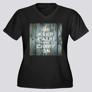 modern keep calm and carry on fashion Plus Size T-
