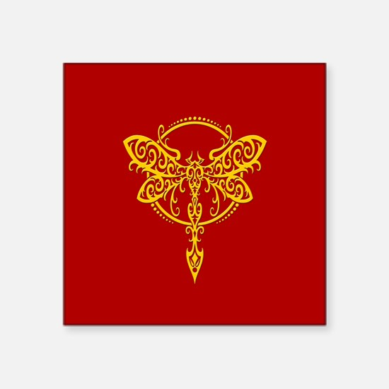 Yellow on Red Swirling Tribal Dragonfly Sticker