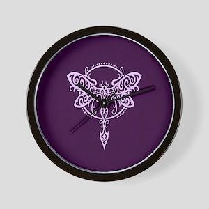 Purple Swirling Tribal Dragonfly Wall Clock