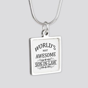 World's Most Amazing Son-I Silver Square Necklace