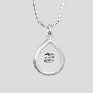 World's Most Amazing Son Silver Teardrop Necklace