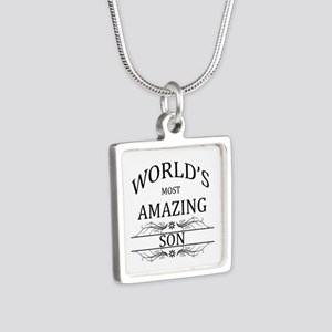 World's Most Amazing Son Silver Square Necklace