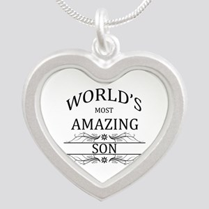World's Most Amazing Son Silver Heart Necklace