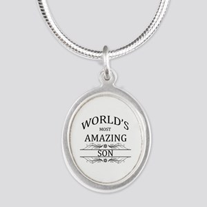 World's Most Amazing Son Silver Oval Necklace