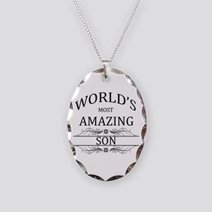 World's Most Amazing Son Necklace Oval Charm