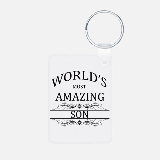 World's Most Amazing Son Aluminum Photo Keychain