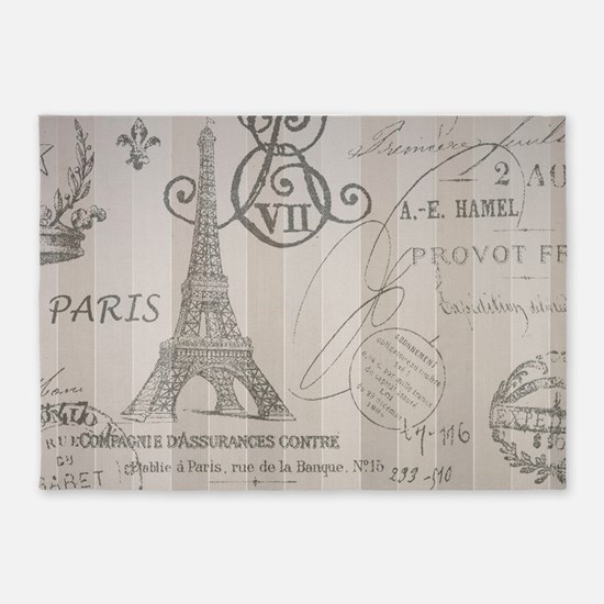 stripes elegant paris Eiffel tower floral art 5'x7