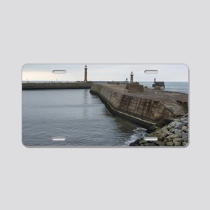 Twin stone piers in Whitby  Aluminum License Plate