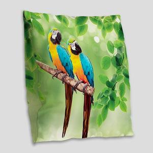 Macaws Burlap Throw Pillow