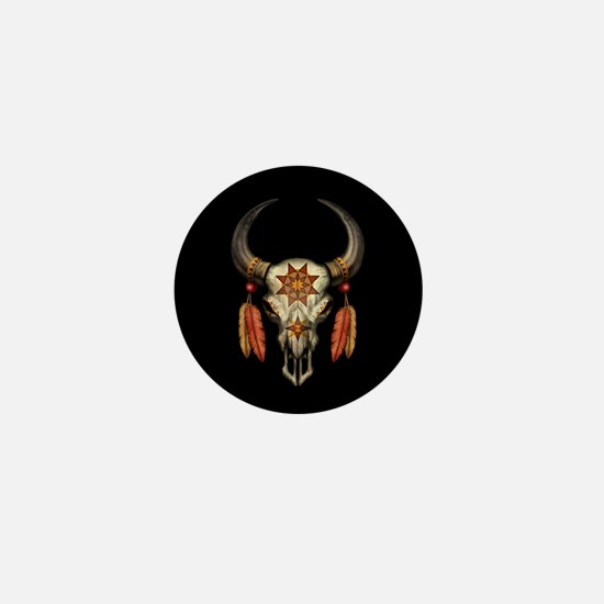 Decorated Native Bull Skull with Feathers on Black
