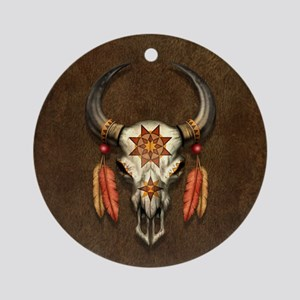 Decorated Native Bull Skull with Feathers Ornament