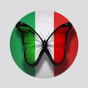Italian Flag Butterfly Ornament (Round)