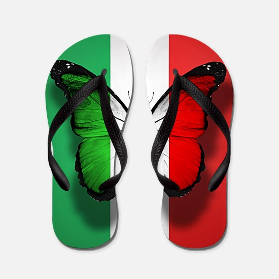 Italian Flag Butterfly Flip Flops