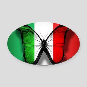 Italian Flag Butterfly Oval Car Magnet