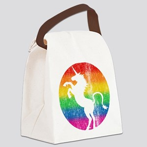 Retro Unicorn Rainbow Canvas Lunch Bag