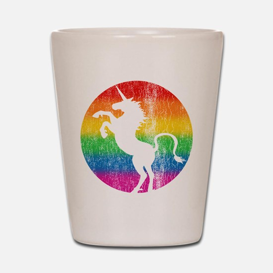 Retro Unicorn Rainbow Shot Glass