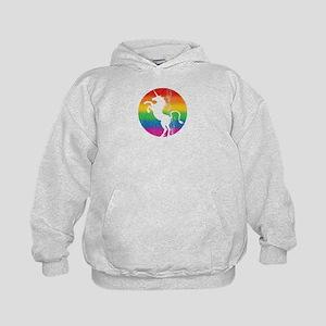 Retro Unicorn Rainbow Kids Hoodie