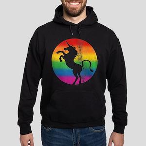 Retro Unicorn Rainbow Hoodie (dark)