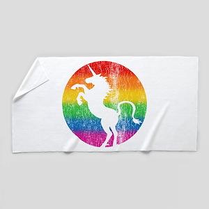 Retro Unicorn Rainbow Beach Towel