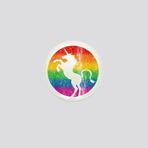 Retro Unicorn Rainbow Mini Button