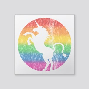 "Retro Unicorn Rainbow Square Sticker 3"" x 3"""