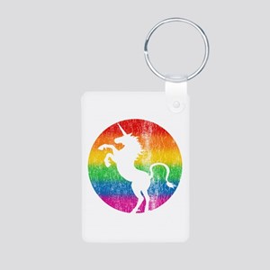 Retro Unicorn Rainbow Aluminum Photo Keychain