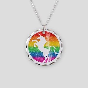 Retro Unicorn Rainbow Necklace Circle Charm