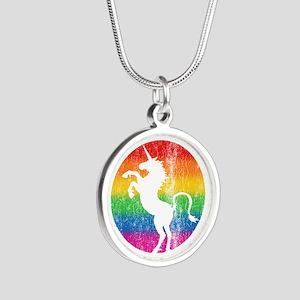 Retro Unicorn Rainbow Silver Round Necklace
