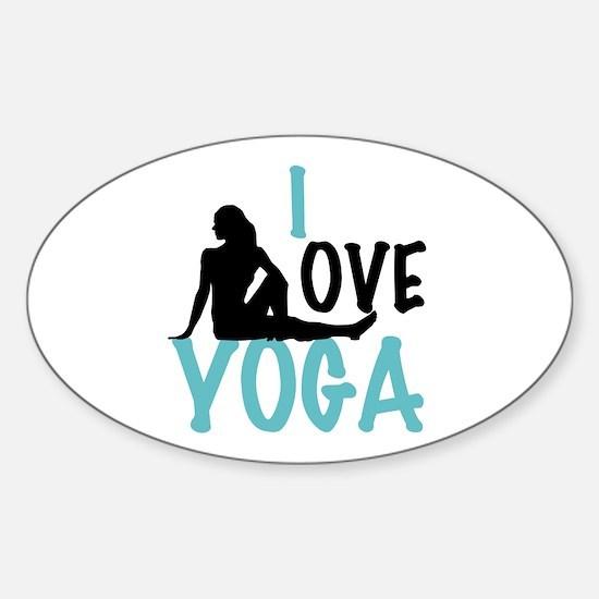 I Love Yoga Sticker (Oval)