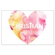 Christian Heart Pink Large Poster