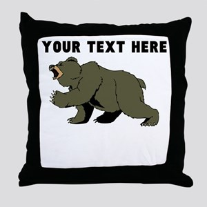 Custom Angry Bear Throw Pillow