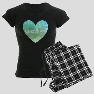 Christian Heart Blue Women's Dark Pajamas