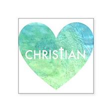 Christian Heart Blue Square Sticker 3