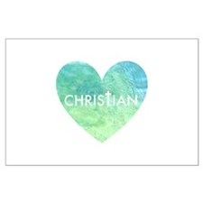 Christian Heart Blue Large Poster