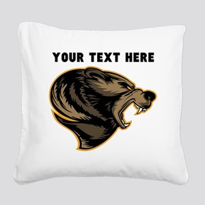 Custom Grizzly Bear Square Canvas Pillow
