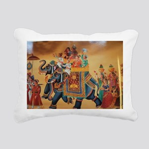 INDIAN ROYALTY ON ELEPHA Rectangular Canvas Pillow