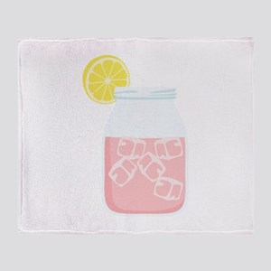 Glass Mason Jar Pink Lemonade Beverage Drink Throw